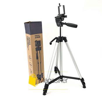 Компактный штатив трипод Tripod 330a тренога с держателем для телефона, экшн камер, смартфонов и видеокамер (940-tg)