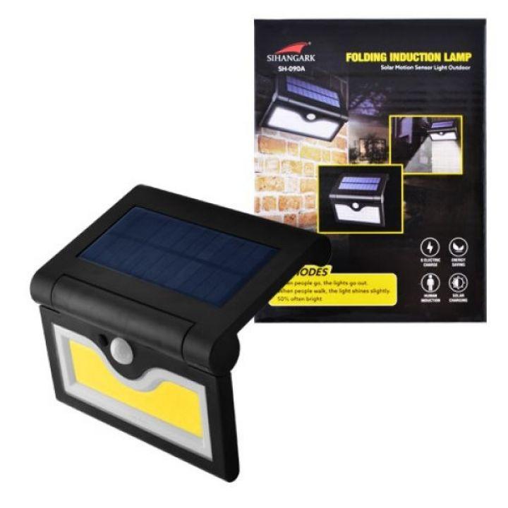 Светодиодный уличный светильник SIHANGARK SH-090B-COB на солнечных батареях настенный накладной с датчиком движения и влагозащитой 3 режима + регуляция угла наклона
