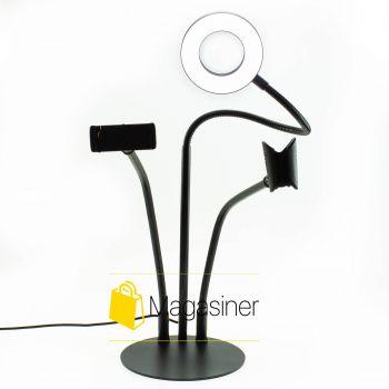 Кольцевая лампа (селфи кольцо) настольная с держателем для телефона и микрофона / селфи / фотографа / визажиста (956-tg)