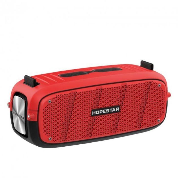 Беспроводная оригинальная портативная bluetooth колонка Sound System A20 Pro Hopestar 55ВТ с влагозащитой IPX6 и функцией зарядки устройств красная