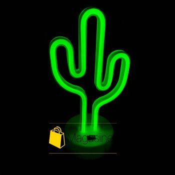 Неоновый светильник Кактус настольный ночник зеленый свет (997)